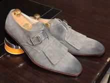 Load image into Gallery viewer, Handmade Gray Fringe Buckle Suede Shoes For Men's - leathersguru
