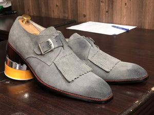 Handmade Gray Fringe Buckle Suede Shoes For Men's - leathersguru