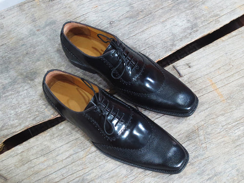 Latest Handmade Black Leather Lace Up Shoes, Men's Derby Style Dress Formal Shoes