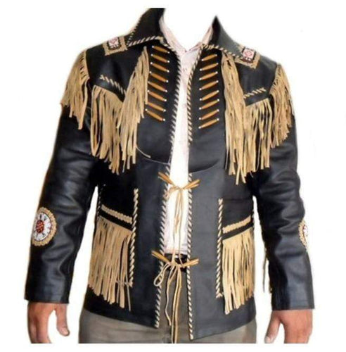 Men's Leather Jacket Western Wear Cowboy Black Beige Fringe Jacket - leathersguru