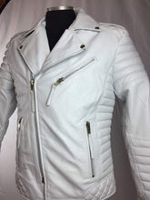 Load image into Gallery viewer, Men's Genuine Lambskin Leather Biker Jacket Motorcycle Style White Color Jacket - leathersguru