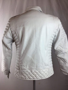 Men's Genuine Lambskin Leather Biker Jacket Motorcycle Style White Color Jacket - leathersguru