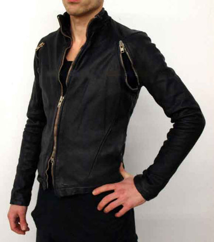 MEN ZIPPERED ARMPITS WASHED LAMB LEATHER JACKET NEW