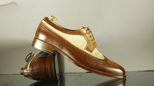 Men's Bespoke Beige Brown Wing Tip Lace Up Shoes - leathersguru