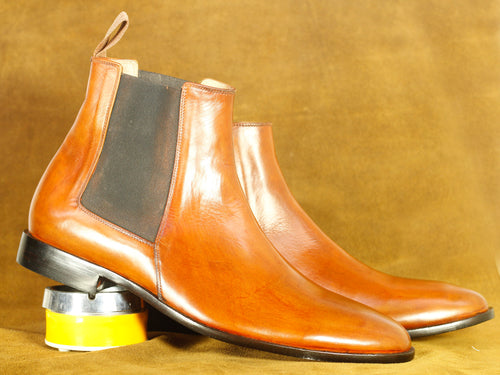 Handmade Brown Leather Chelsea Ankle Boot, Men's Formal Boot