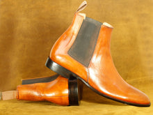 Load image into Gallery viewer, Handmade Brown Leather Chelsea Ankle Boot, Men's Formal Boot
