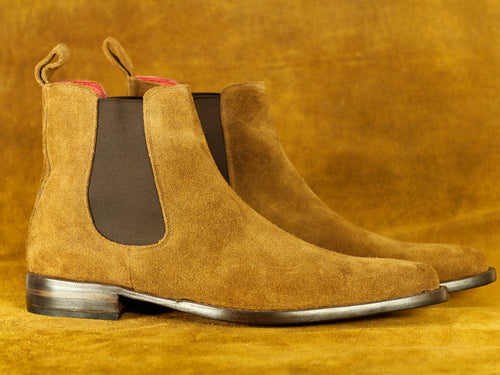 Handmade Brown Chelsea Ankle High Suede Boot, Men's Oxford Boot