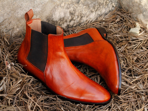 Bespoke Ankle High Tan Chelsea Leather Boot - leathersguru