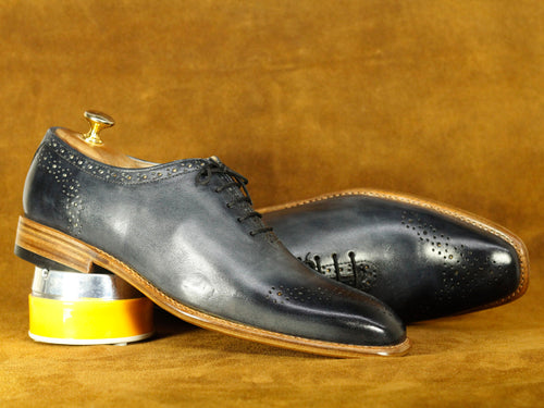 Bespoke Grey Brogue Lace Up Shoes, Men's Dress Shoes