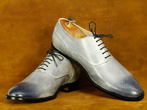 Bespoke Grey Brogue Lace Up Shoes, Men's Oxford Shoes