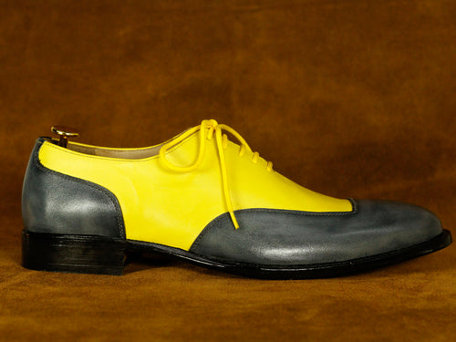 Two Tone Gray Yellow Leather Lace Up Shoes For Men's