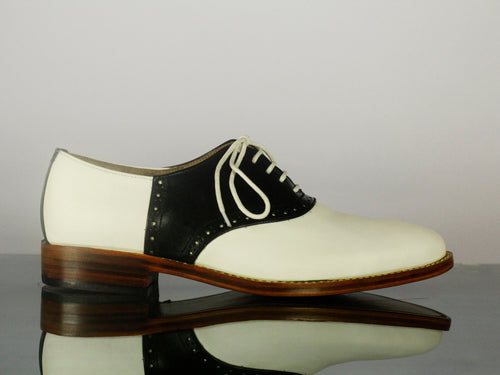 Bespoke White Black Lace Up Leather Shoes,Men's Stylish Shoes