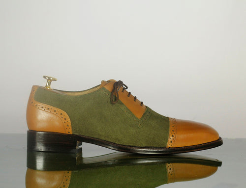 Brown Green Leather Suede Cap Toe Lace Up Shoes,Handmade Party Shoes