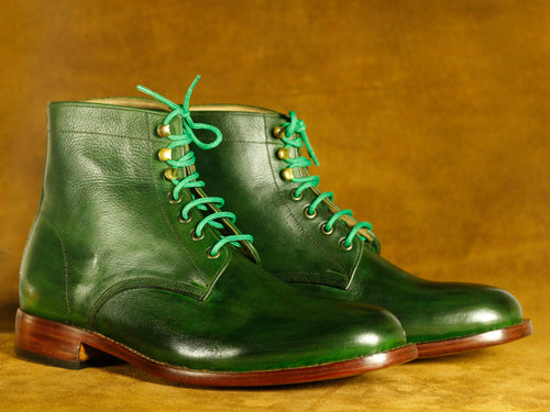 Bespoke Ankle Green Lace Up Boots, Men's Fashion Boot