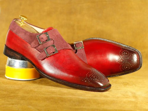 Handmade Burgundy Double Monk brogue Leather Shoes, Men's Fashion Shoes