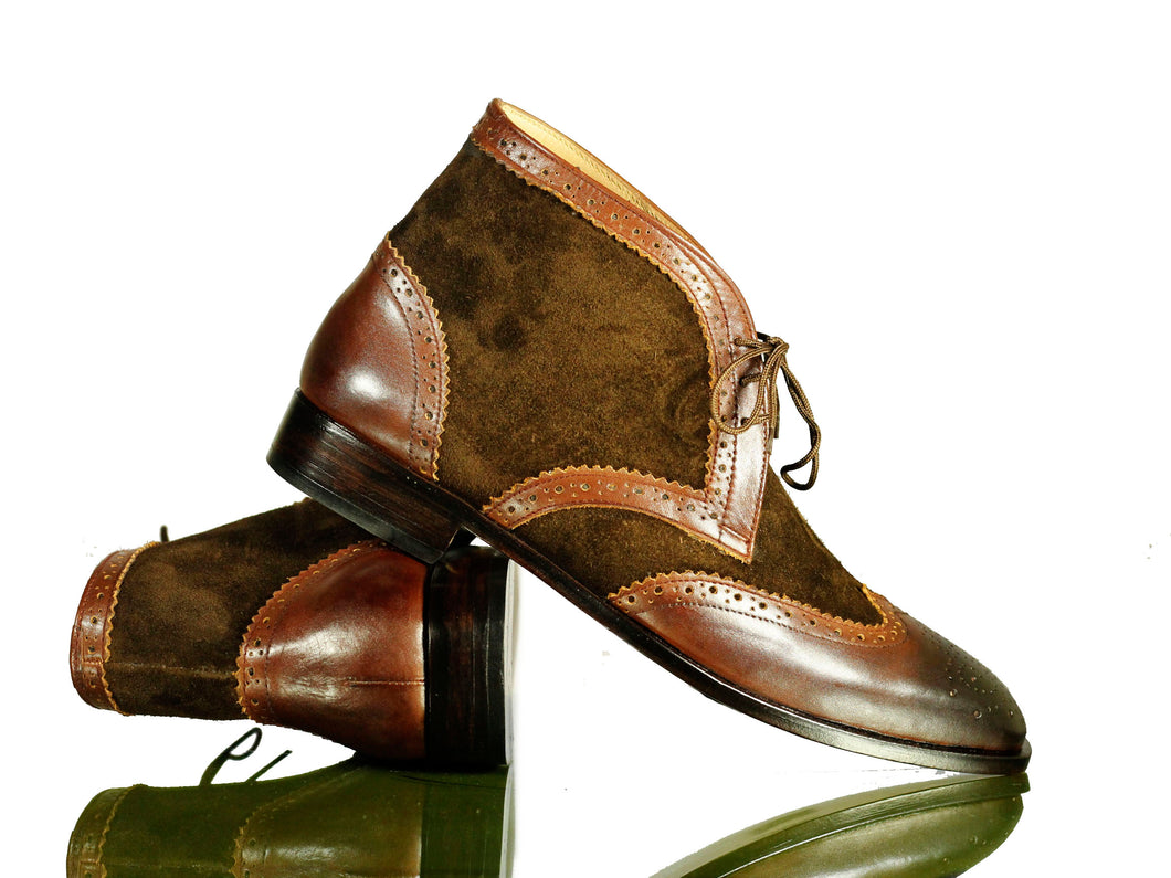 Bespoke Brown Leather Suede Lace Up Boot - leathersguru