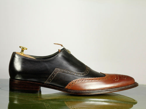 Handmade Brown Black Leather Zipper Shoes For Men's Party Shoes