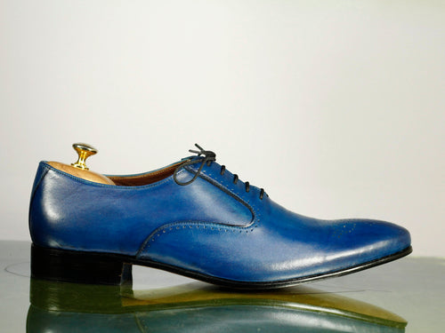 Bespoke Lace Up Blue Stylish Brogue Toe Leather Shoes For Men's