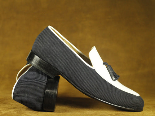 Bespoke Men's Black White Cotroy Leather Loafer Tussle Stylish Shoes,