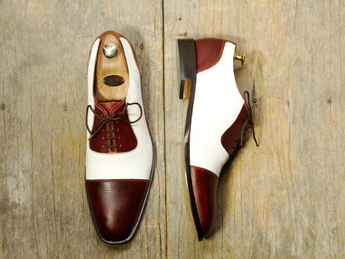 Men's Burgundy White Stylish Lace Up Party Shoes,Handmade Shoes