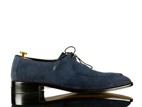 Handmade Blue Round Toe Lace Up Suede Shoes,For Men's
