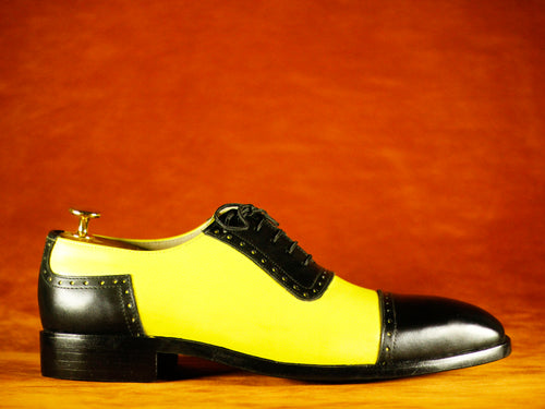 Bespoke Black Yellow Cap Toe Lace Up Leather Shoes,Men's Party Shoes