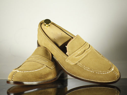 Bespoke Beige split toe Penny Loafer Leather Shoe for Men - leathersguru