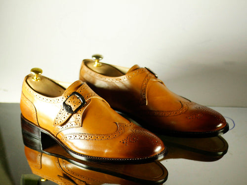 Handmade Tan Wing Tip Monk Straps Leather Shoes for Men - leathersguru