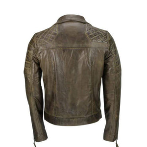 Men's Brown Sheep Leather Vintage Style Biker Fashion Casual Leather Jacket - leathersguru