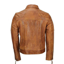 Load image into Gallery viewer, Men's Tan Color Sheep Leather Vintage Style Biker Fashion Casual Leather Jacket - leathersguru