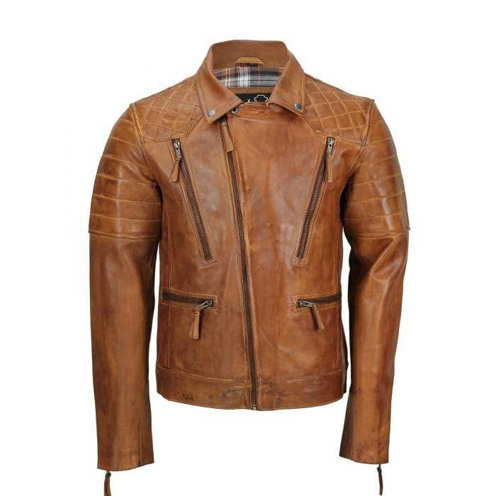 Men's Tan Color Sheep Leather Vintage Style Biker Fashion Casual Leather Jacket - leathersguru