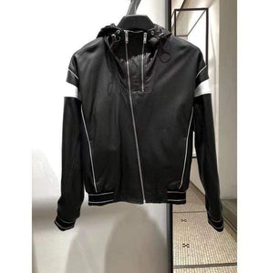 Men's Black White Hooded Leather Jacket, Men's Handmade Leather Jackets - leathersguru