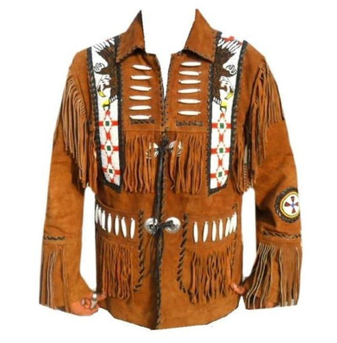 Men Brown Eagle Beads Western Cowboy Suede Leather Tan Jacket, Fringes Jacket - leathersguru