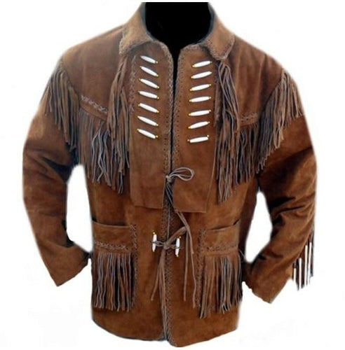 Men's Brown Suede Western Jacket, Suede Leather Jacket , Suede Cowboy Fringe Jacket - leathersguru