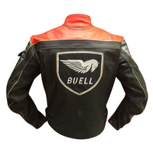 Load image into Gallery viewer, Men Buell Motorcycle Black Red Leather Jacket Buell Moto Leather Jacket With CE Armour - leathersguru