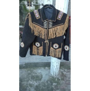 Men's Cowboy Suede Black Beige Jacket, Cowboy Style Suede Jacket With Fringes - leathersguru