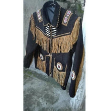 Load image into Gallery viewer, Men's Cowboy Suede Black Beige Jacket, Cowboy Style Suede Jacket With Fringes - leathersguru