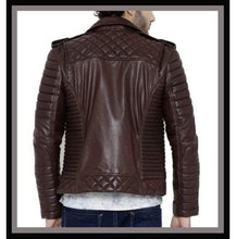 Load image into Gallery viewer, Men's Chocolate Brown Color Padded Motorcycle Fashion Leather Jacket - leathersguru