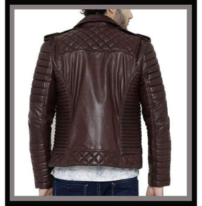 Men's Chocolate Brown Color Padded Motorcycle Fashion Leather Jacket - leathersguru
