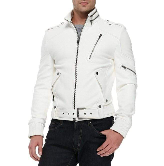 Men's Fashion Leather White Jacket, Men's Genuine Leather Belted Jacket - leathersguru