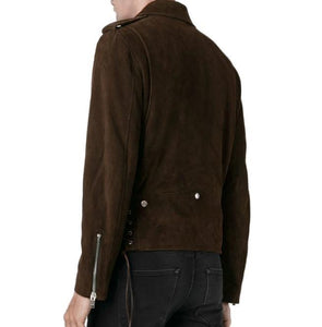 Men's Fringe Motorcycle Suede Jacket Men's Clothing, Men's Cow Boy Brown Western Jacket - leathersguru