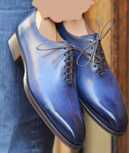 Handmade Two Tone Blue Leather Lace Up Shoe - leathersguru