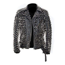 Load image into Gallery viewer, Men's Silver Studded Custom Patches Long Spike Brando Belted Rocker Black Jacket - leathersguru
