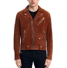 Load image into Gallery viewer, Men's Tan Brown Suede Leather Jacket, Men's Fashion Zipper Jacket - leathersguru