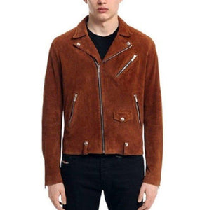 Men's Tan Brown Suede Leather Jacket, Men's Fashion Zipper Jacket - leathersguru