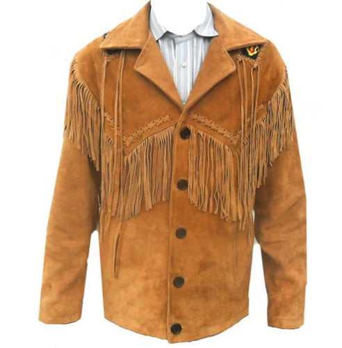Men's Tan Suede Leather Jacket, Cowboy Jacket - leathersguru