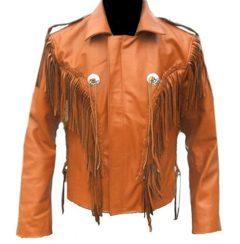 Men Tan Western Style Leather Jacket ,Cowboy Cowhide Leather Fringe Jacket - leathersguru