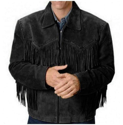 Men's Western Black Suede Jacket Wear Fringes Beads, Suede Cowboy Jacket - leathersguru