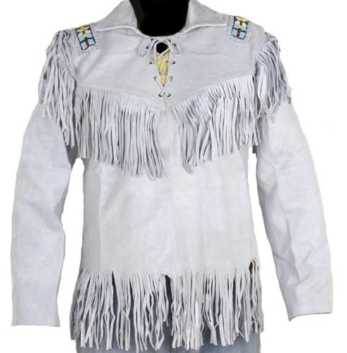 Men's Western Cowboy Real Leather Jacket, Handmade White Leather Jacket With Fringes - leathersguru