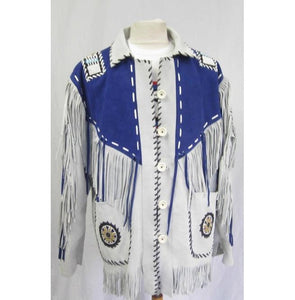 Western Suede Jacket Fringes Beads Native American Cowboy Jacket - leathersguru